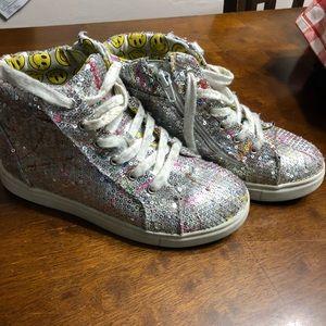 Paint splatter Sequin high top sneakers